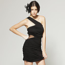 TS Black One Shoulder Mesh Cut Out Party Dress