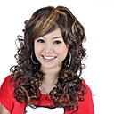 Capless Long High Quality Synthetic Dark Brown With Golden Brown Curly Hair Wig