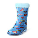 Rubber Upper Flat Heel Mid-calf Kids Rain Boots With Car Print Outdoor Shoes