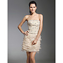 Sheath/Column Strapless Short/Mini  Satin Lace Cocktail Dress