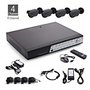 4CH All-in-one CCTV Kit + 4pcs Black Outdoor Waterproof Camera with 24pcs LED + 500GB HDD
