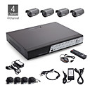 4ch alles-in-een CCTV-kit + 4 stuks 25m buitenbad waterproof camera + 500GB HDD