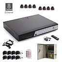 8 canali all-in-one kit cctv + 8pz nero 24led dome + 1000 GB HDD