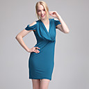 ts v-neck drapieren Schulter BodyCon Kleid