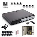 8-kanaals all-in-een CCTV-kit + 8st witte 24led dome camera + 1000 GB hdd