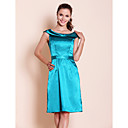 Sheath/ Column Scoop Knee-length Satin Bridesmaid Dress