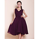 A-line Princess V-neck Knee-length Chiffon Bridesmaid Dress