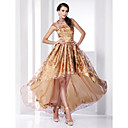 Organza A-line High Neck Asymmetrical Evening Dress inspired by Hailee Steinfeld