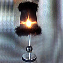 Black Table Light in Villus Edged Lampshade