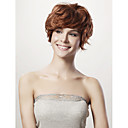 Mono Top Short Curly Brown 100% Human Hiar Wig Full Bang