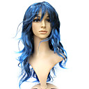 Capless Long 100% Kasi Fiber Blue Curly Costume Party Wig