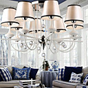 40W Modern Crystal Chandelier with 8 Lights - Fabric Lampshade