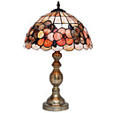Tiffany Style Shell Table Light with Floral Pattern