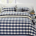 300 Thread Count Free Plaid 3-piece Full / Queen Duvet Cover Set