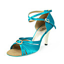 Satin Upper Blue Peep Toe High Heel Dance Shoes Ballroom Latin Shoes for Women