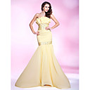 Trumpet/Mermaid Strapless Sweep/Brush Train Chiffon Evening Dress