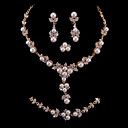 CZ &amp; Faux Pearl In Gold Alloy Bridal Set  Necklace, Bracelet, Ring And Earrings