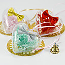 Clear Heart Shaped Favor Holder With Bow (Set of 12)