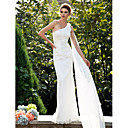 Trumpet/Mermaid One Shoulder Sweep/Brush Train Lace Wedding Dress