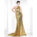 Sequined Trumpet/ Mermaid One Shoulder Sweep/ Brush Train Evening Dress inspired by Elizabeth Banks