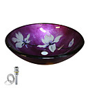 Round Flower Tempered glass Vessel Sink With Pop up and Mounting ring