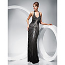 Sheath/Column Halter Floor-length Evening Dress