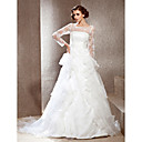 A-line Scoop Cathedral Train Lace Wedding Dress