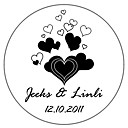 Personalized Favor Stickers - Soft Hearts (pack of 90)