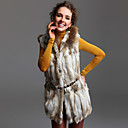 TS Hooded Rabbit and Fox Fur Blended Vest