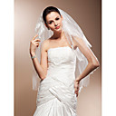 Two-tier Elbow Wedding Veils With Lace Applique Edge