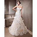 Luxury Delicate Beaded Taffeta Chapel Train Wedding Dress