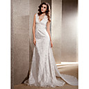 A-line V-neck Chapel Train Lace Chiffon Wedding Dress