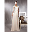 Sheath/ Column Square Floor-length Chiffon With Lace/ Draping Ready-to-Wear Evening Dress