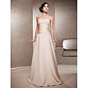 A-line Strapless Floor-length Satin And Lace Wedding Dress