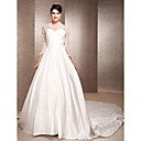 A-line V-neck Chapel Train Satin And Satin Lace Wedding Dress Inspired By Kate Middleton