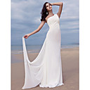 Sheath/Column One Shoulder Floor-length Watteau Train Chiffon Wedding Dress