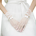 Net Bridal Gloves With Lace Trim And Bow