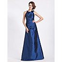 A-line Jewel Neck Floor-length Taffeta Bridesmaid Dress