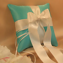 Green Wedding Ring Pillow In Satin With Ivory Sash And Ribbons