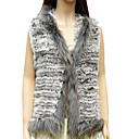 Genuine Knit Rabbit/Raccoon Fur Vest In Grey