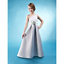 A-line One Shoulder Floor-length Satin Junior Bridesmaid Dress