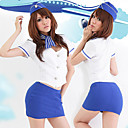 Sexy Angel Blue And White Polyester Stewardess Uniform (4 Pieces)
