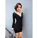 V-neck Sheath/Column Cotton And Lace Date Night Dress (More Colors)