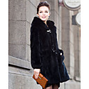 Long Sleeve Rex Rabbit Fur Evening Hooded Coat With Pockets (More Colors)