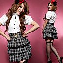 School Girl Check Pattern Skirt Polyester Costume (2 Pieces)