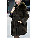 Turndown Collar Long Sleeve Rabbit Fur With Pockets Evening/Office Coat(More Colors)