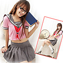 Innocent Girl Pink And Gray Polyester Sailor Suit (3 Pieces)