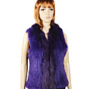 Two Tone Genuine Rabbit/Raccoon Fur Vest In Purple