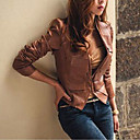 Collarless Long Sleeve Evening/ Career PU Jacket(More Colors)
