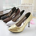 Leatherette Stiletto Closed Toe Pumps With Sparkling Glitter (More Colors)